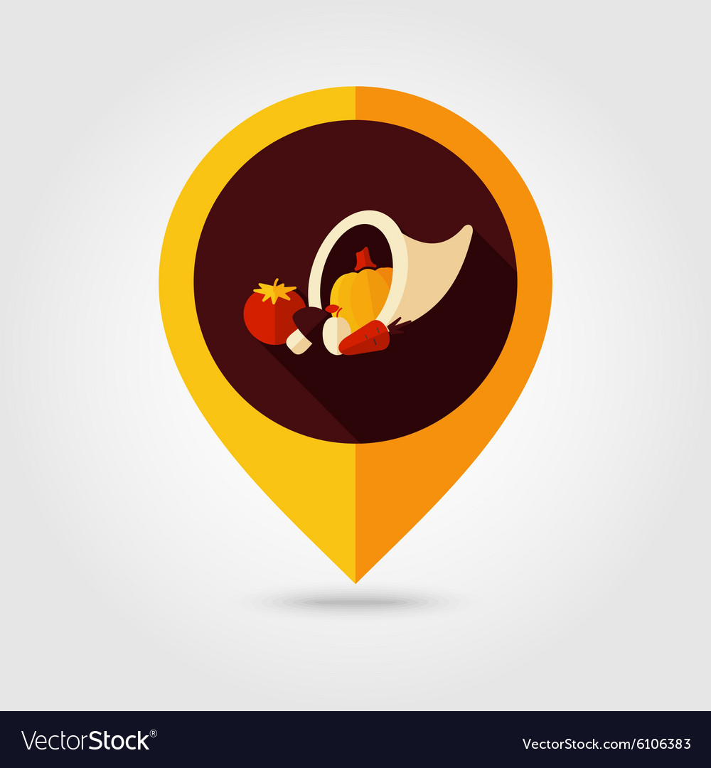 Harvest cornucopia flat mapping pin icon