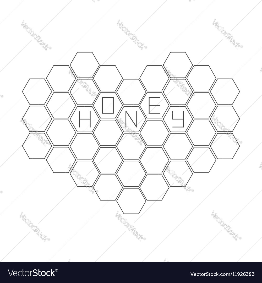 Honeycomb set in shape of heart Beehive element