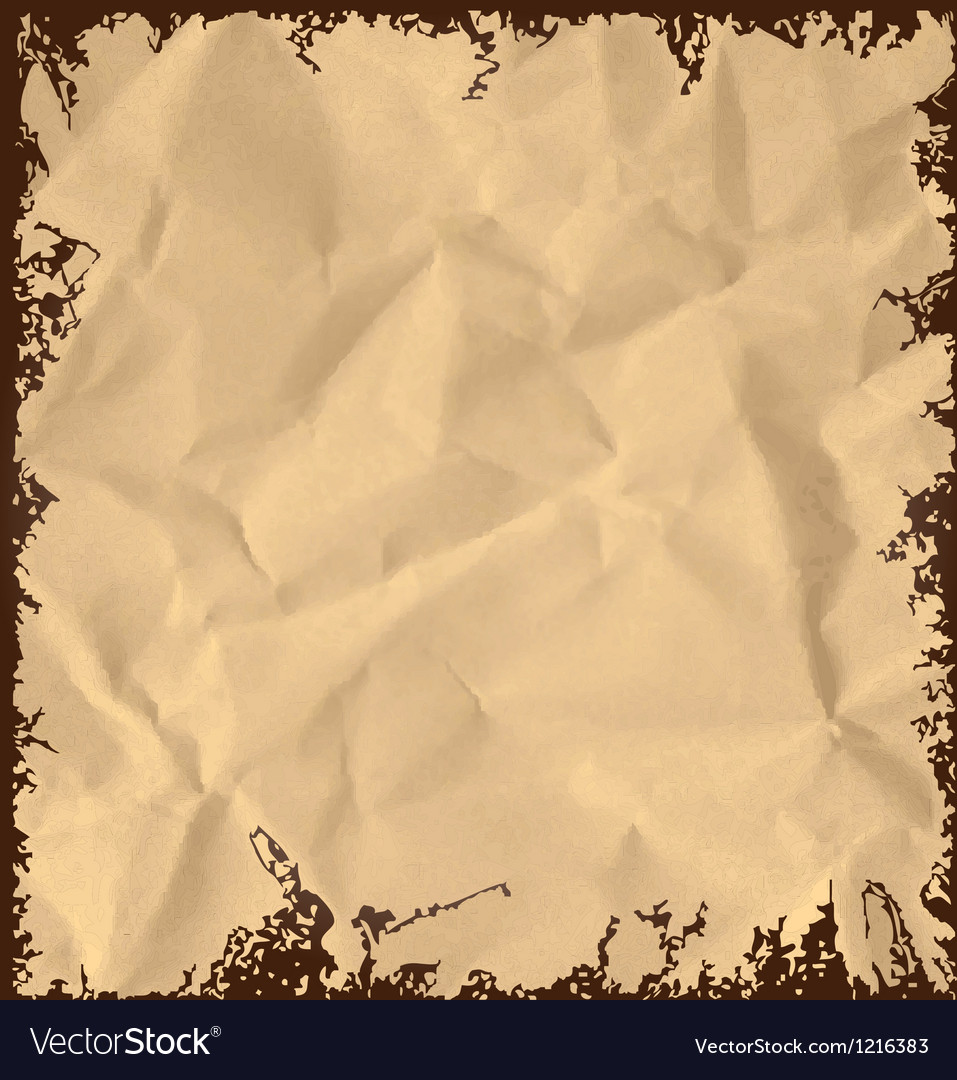 Old crumpled paper background vector image
