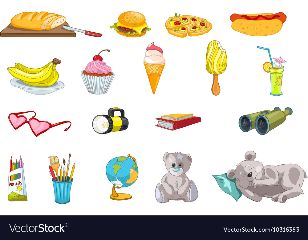 Set of food and kid things