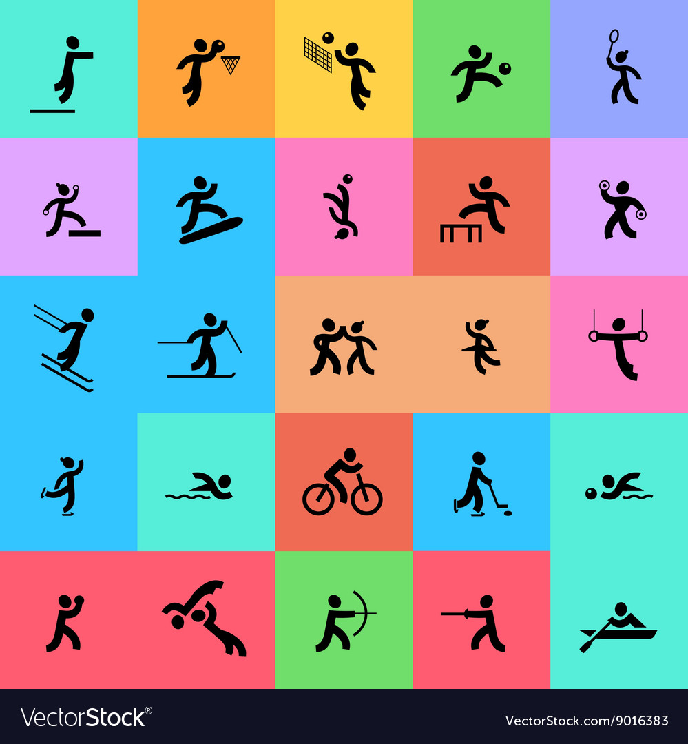 Sports icons set Black and color