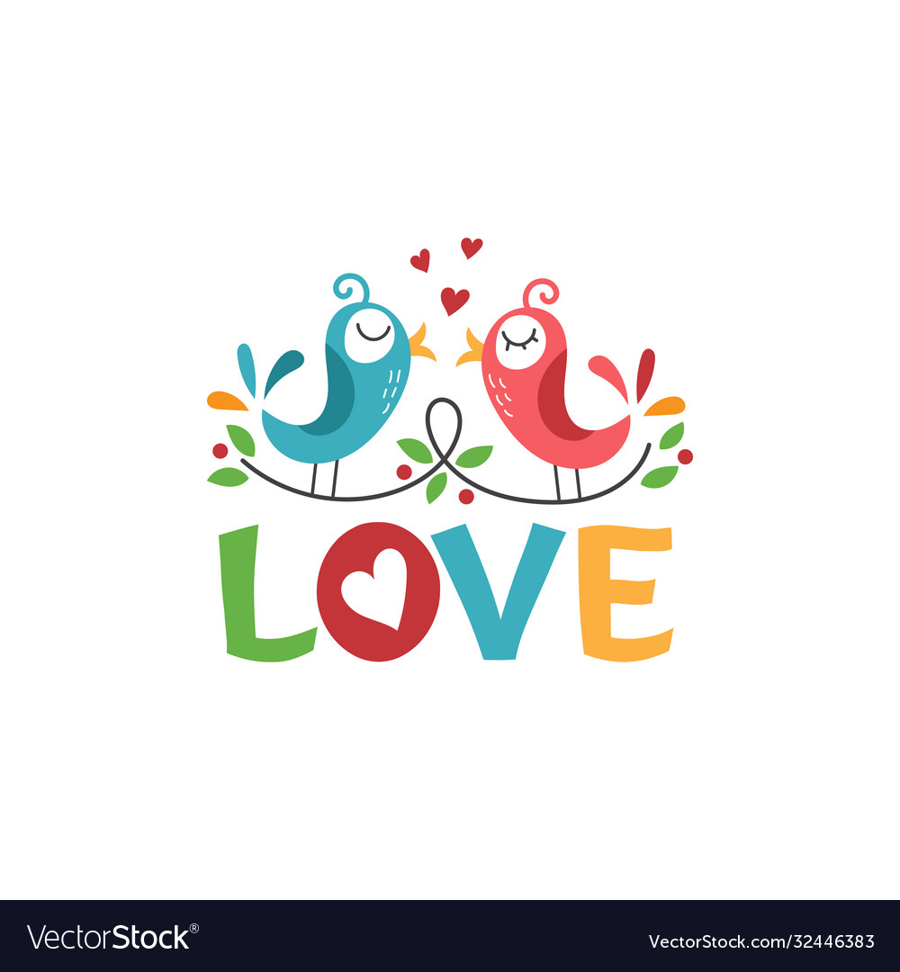 Template icon birds in love