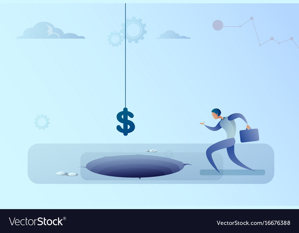 Business man run to dollar sign falling in hole