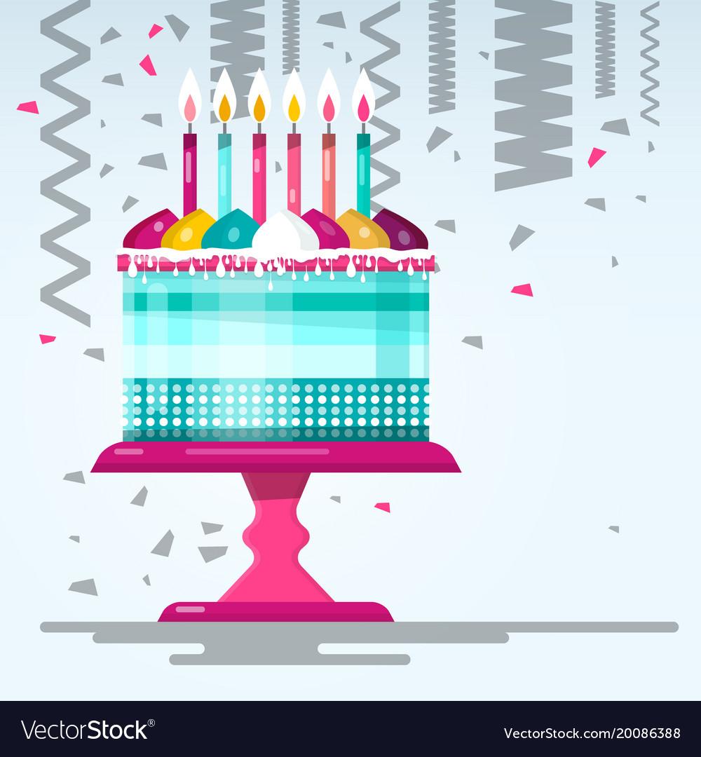 Flat Design Birthday Cake Royalty Free Vector Image