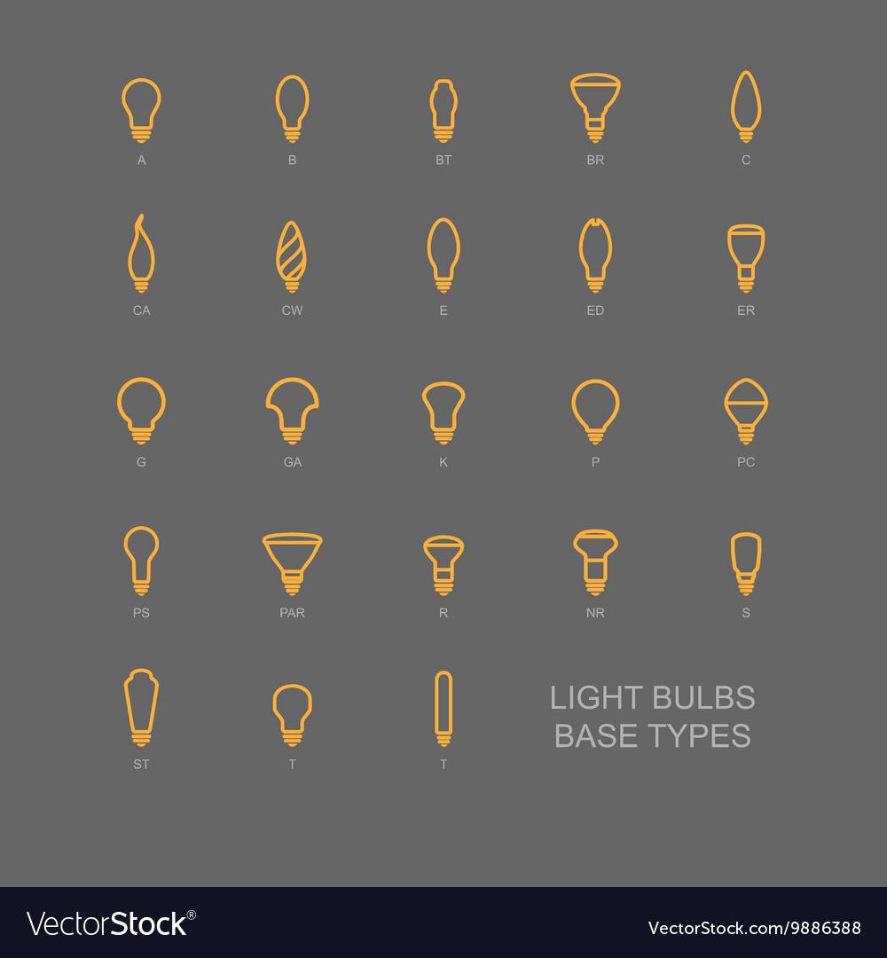 LED Light bulb base type icon set
