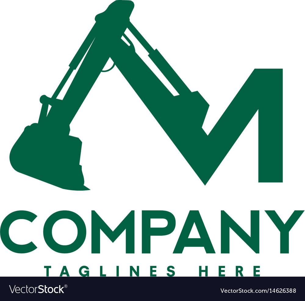 Letter m excavators construction machinery logo