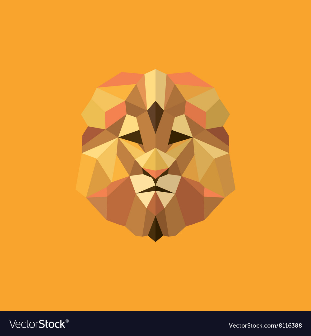 Lion golden orange mane low poly style of modern