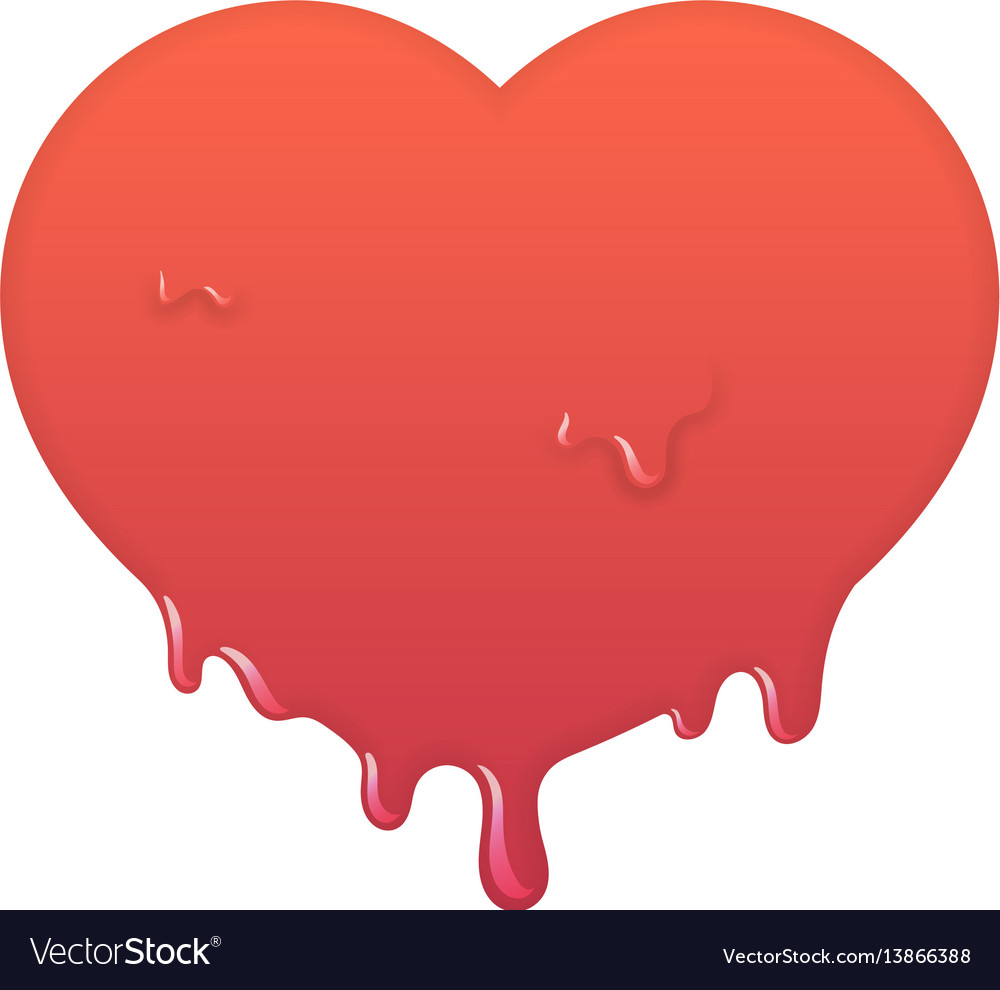 Melting red heart icon love symbol