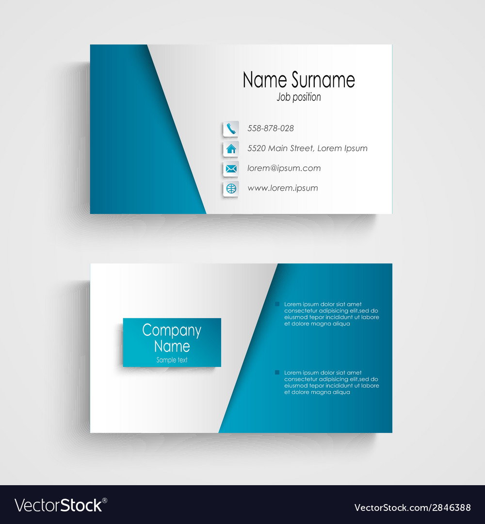 Modern light blue business card template vector image wajeb Choice Image