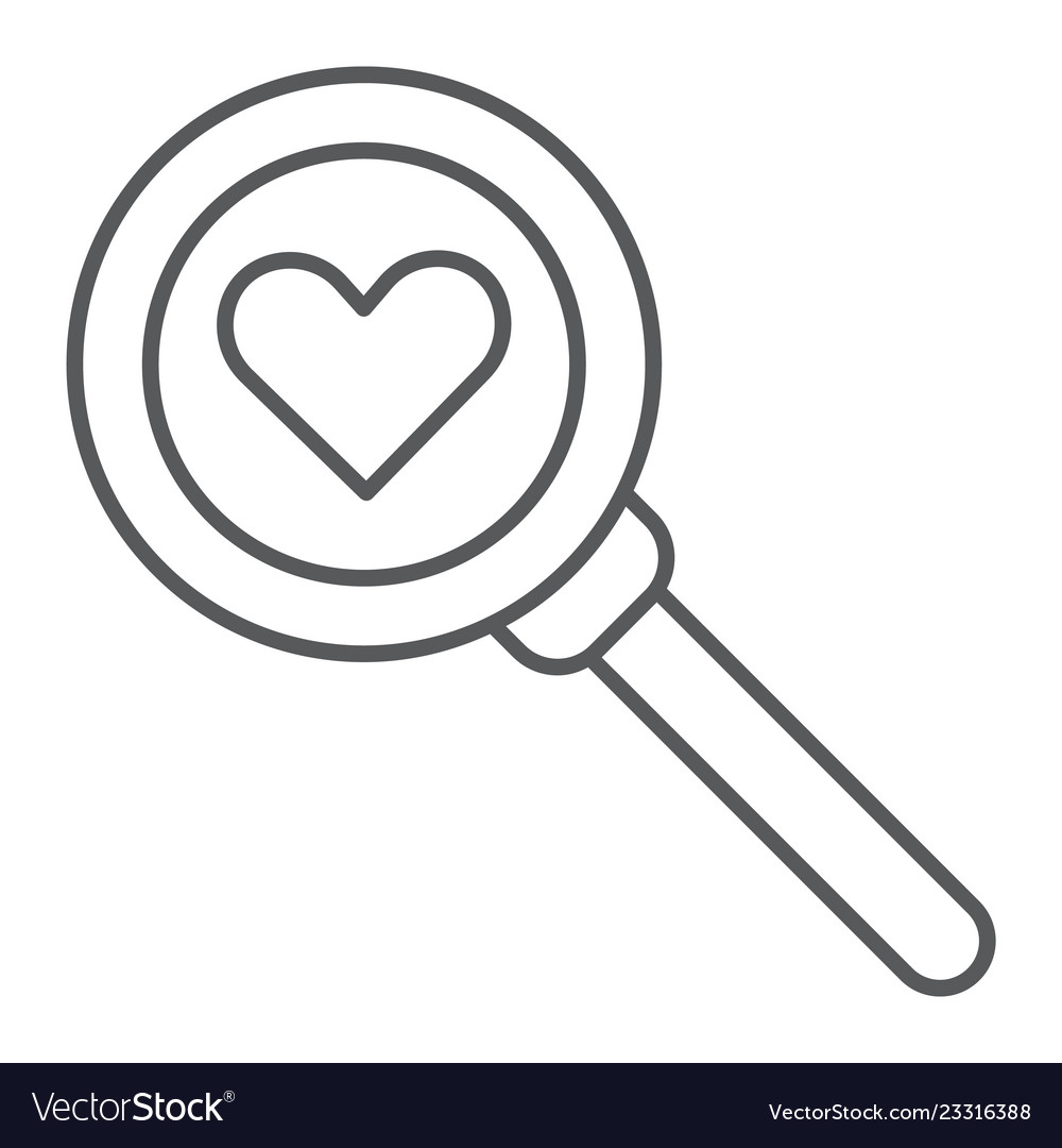 Searching for love thin line icon amour and lens