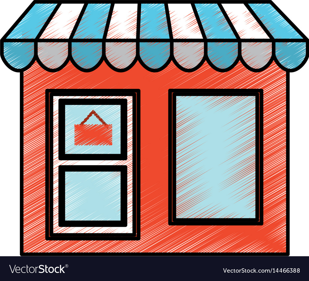 Store building front isolated icon