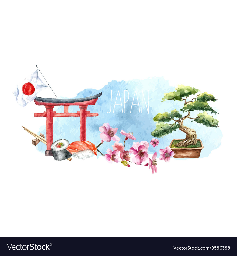 Watercolor Set Japan Royalty Free Vector Image