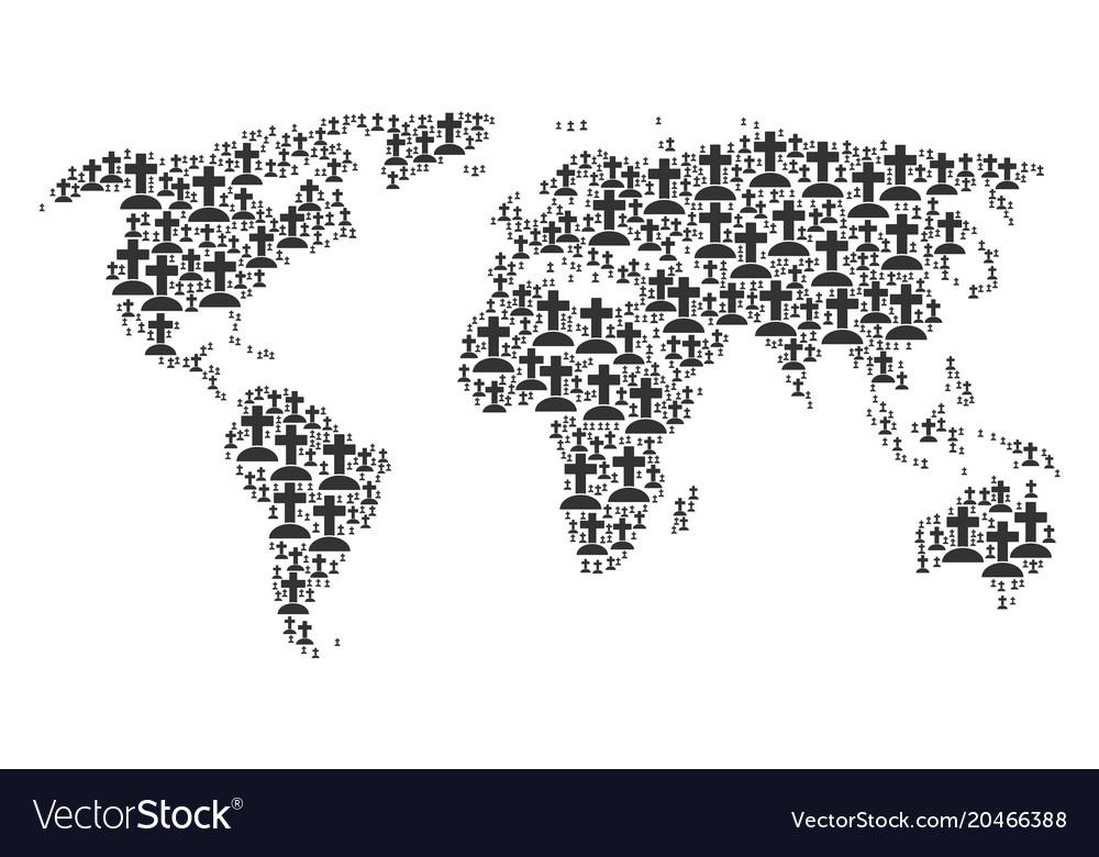 Worldwide atlas mosaic of cemetery icons