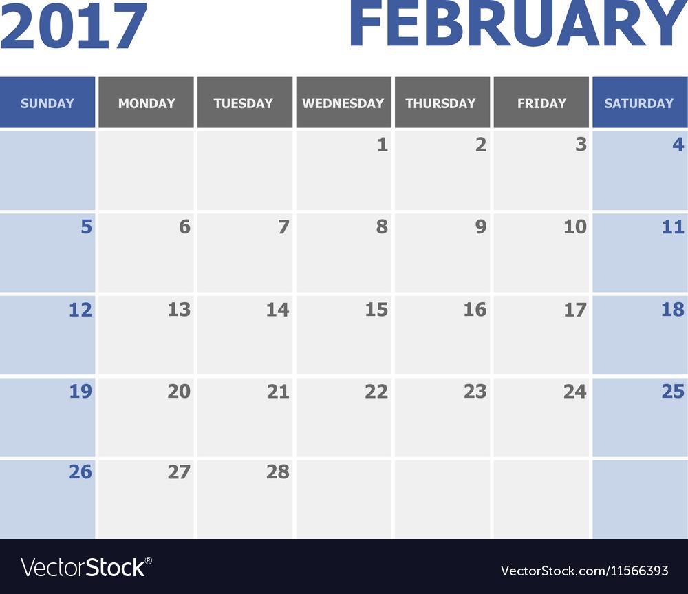 2017 February calendar week starts on Sunday