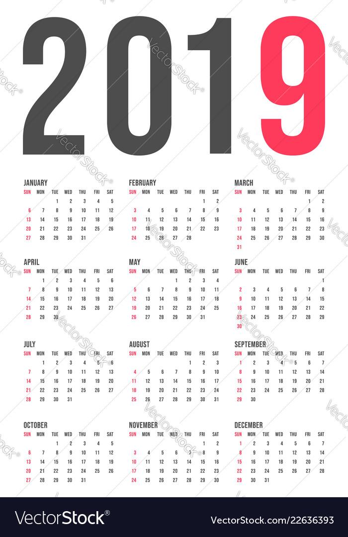 2019 year calendar template minimal pocket square