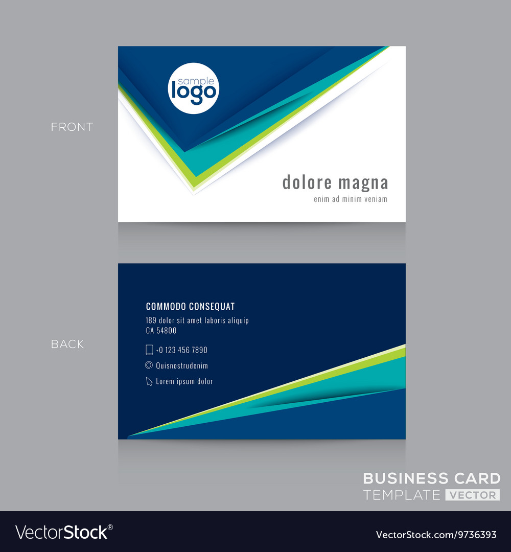 Abstract modern blue green business card