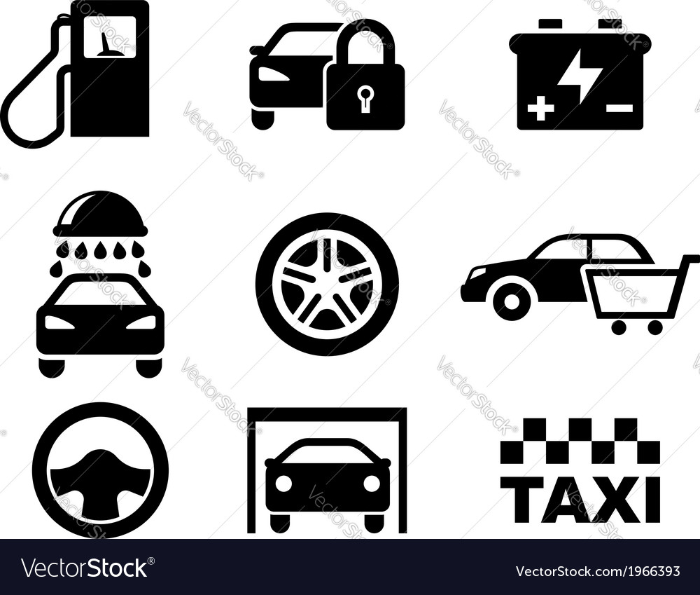 Black and white car service icons vector image