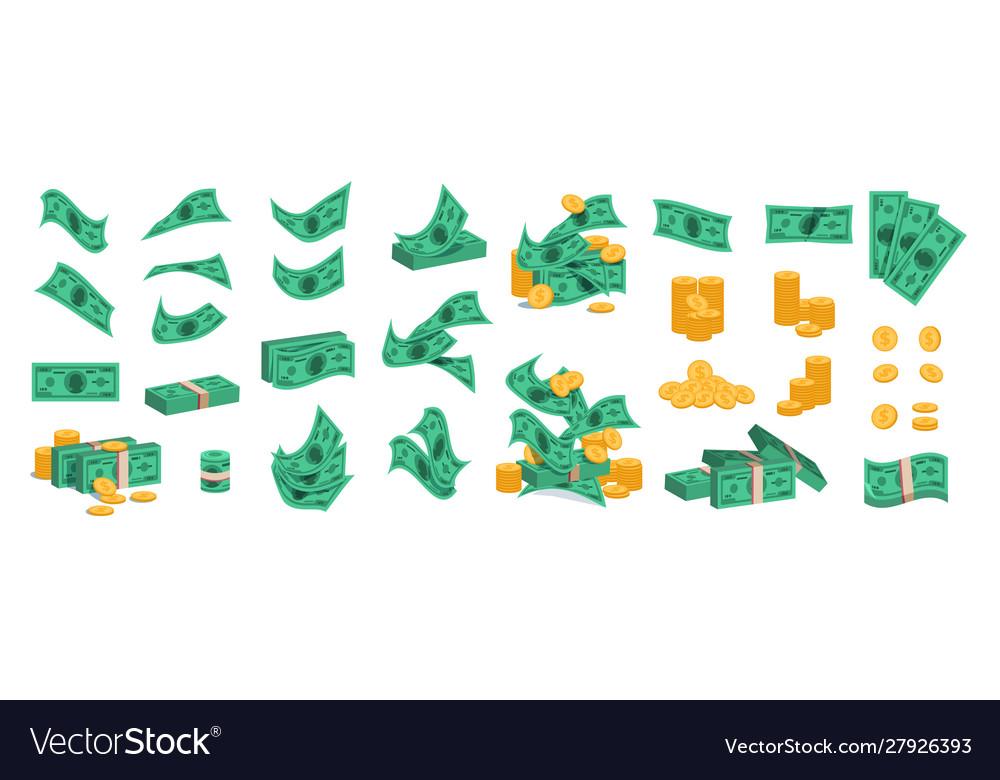 Bundle money golden coins and green dollar