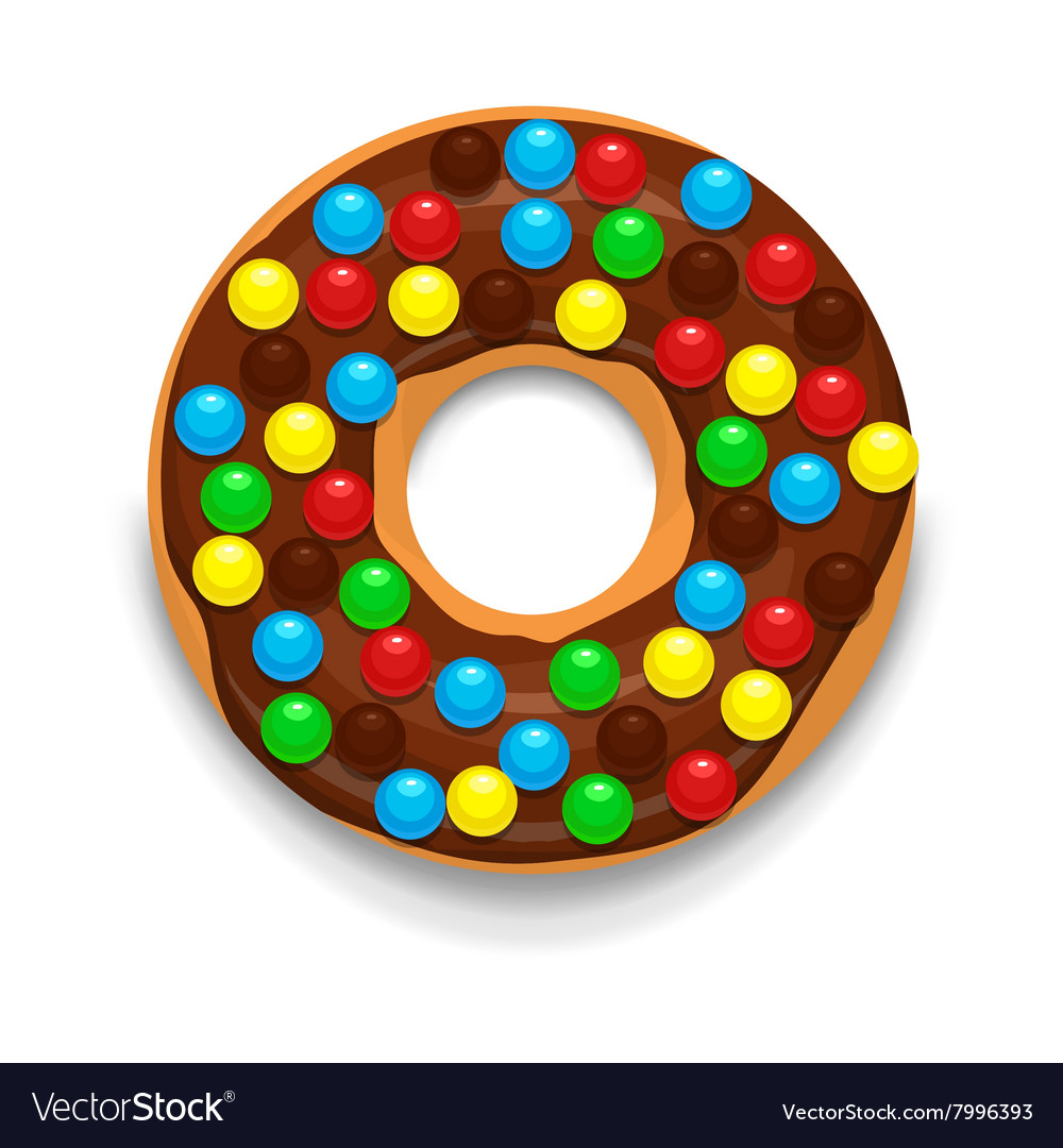 Chocolate donut with candies icon cartoon style