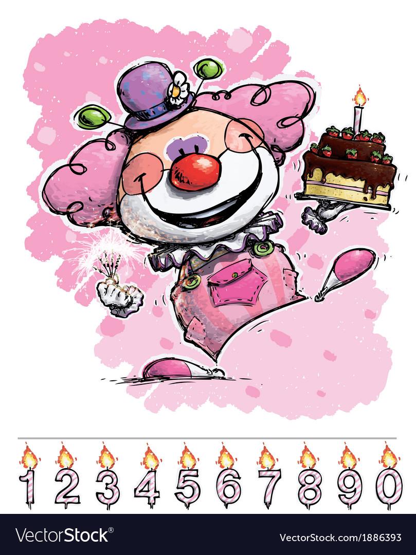 Clown Carrying a Girls Birthday Cake
