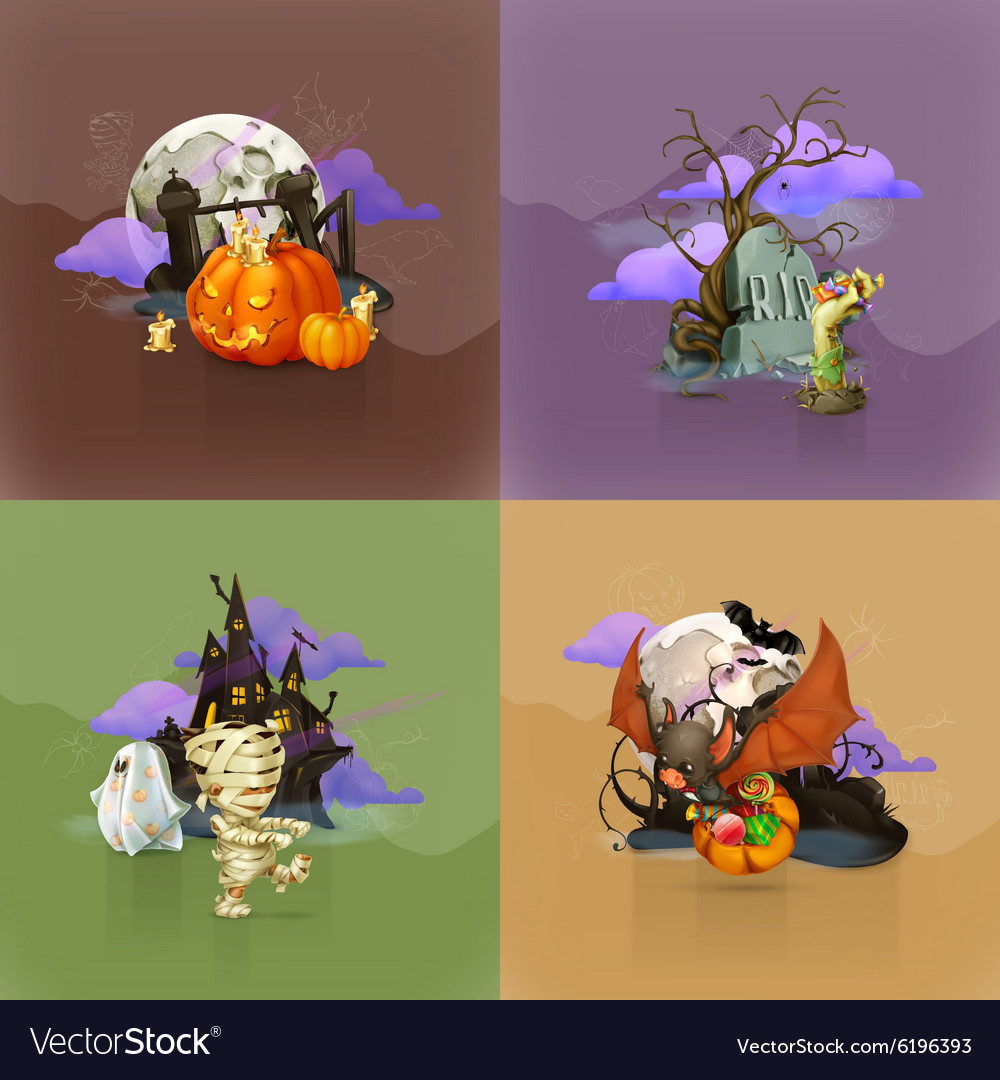 Halloween concepts set of backgrounds