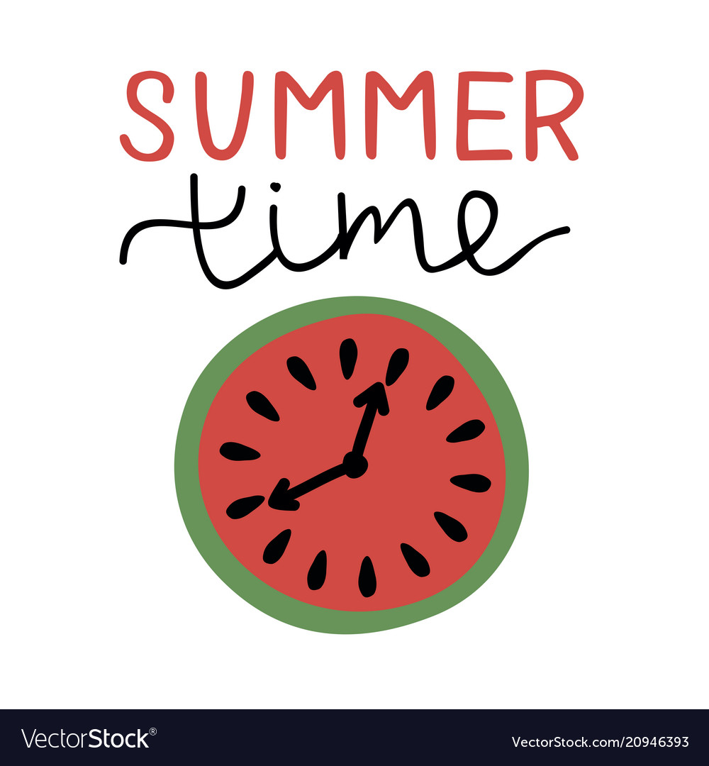 Inscription with hand lettering summer time and