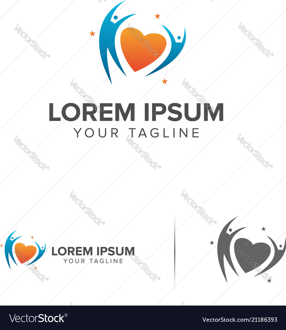 Love people logo design concept template