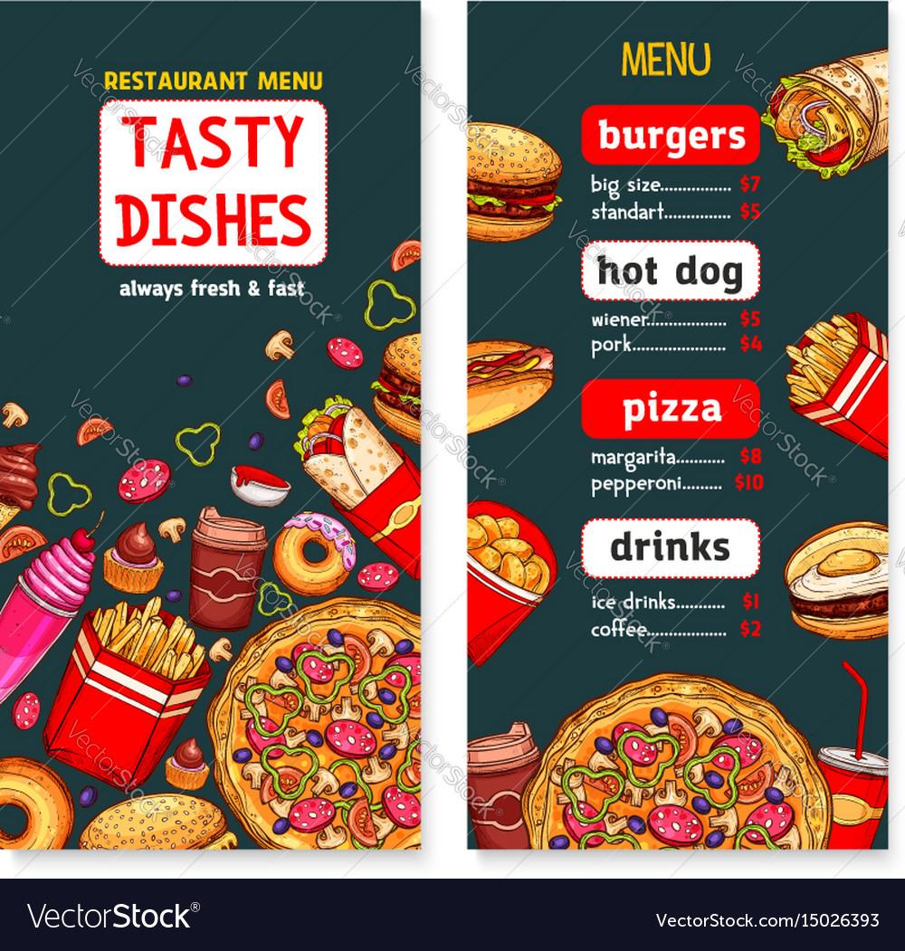 Menu Template Of Fast Food Restaurant Vector Image