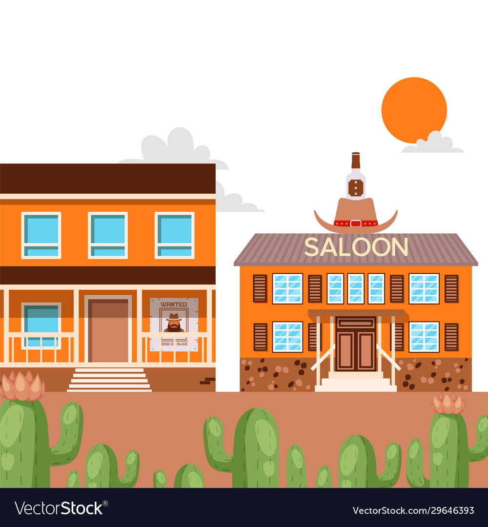 Saloon in western american town flat style