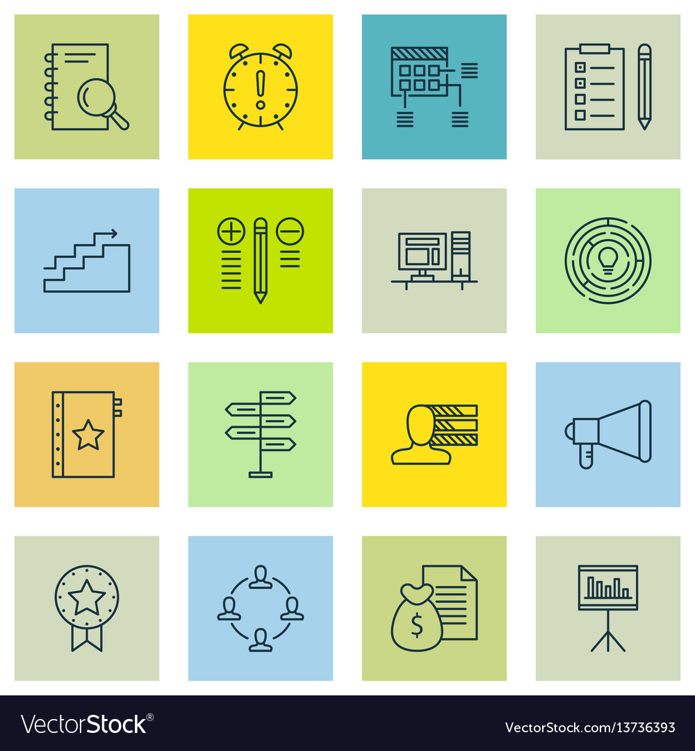 Set of 16 project management icons includes time vector image