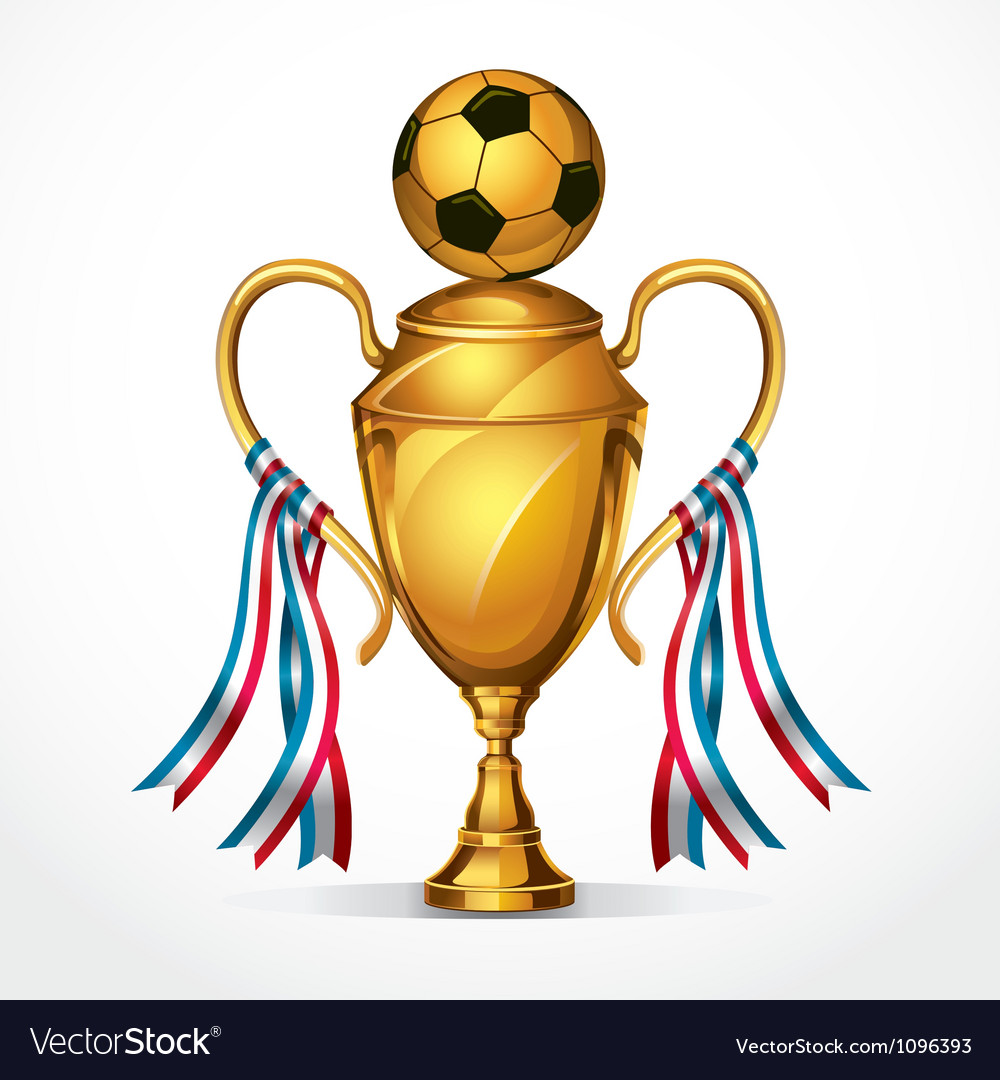 Soccer golden award trophy and ribbon vector image