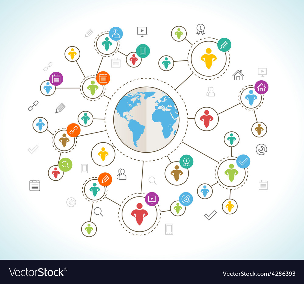 Social network flat design concept with world map vector image gumiabroncs Images