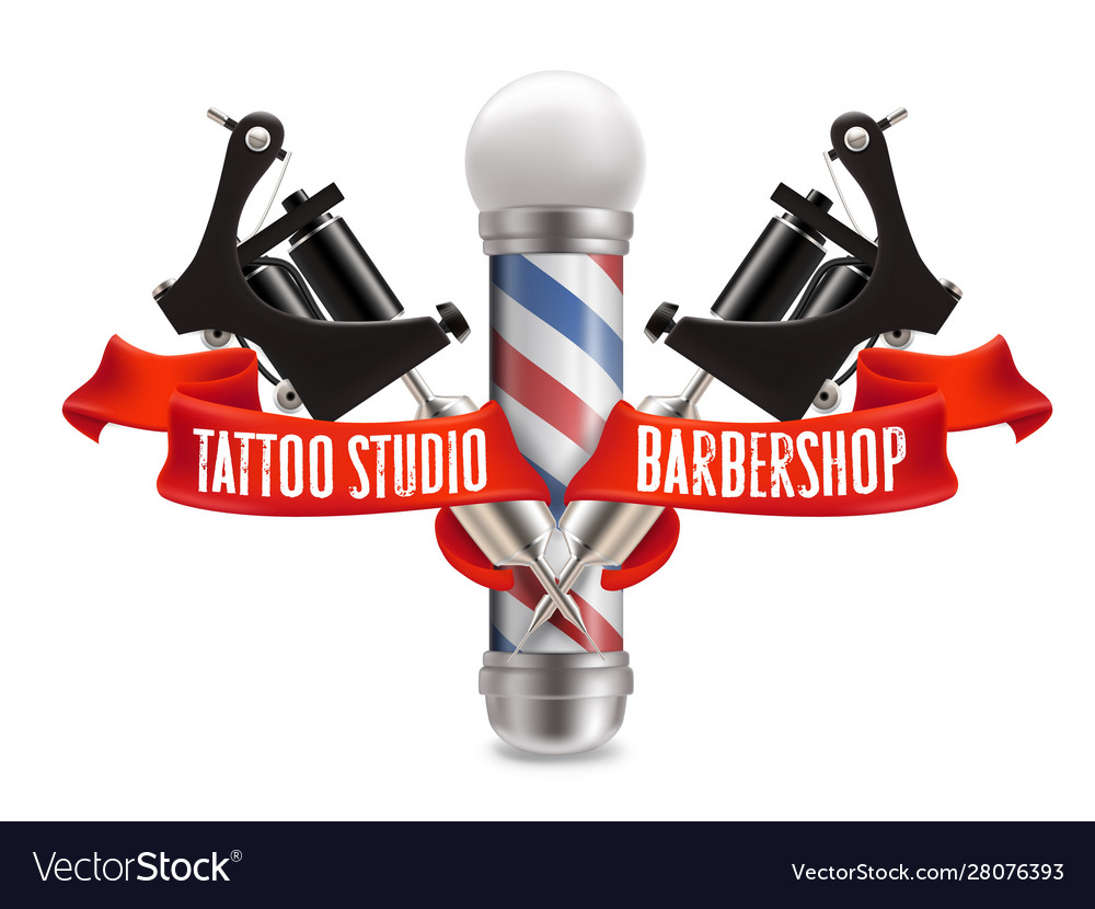 Tattoo studio and barber shop label