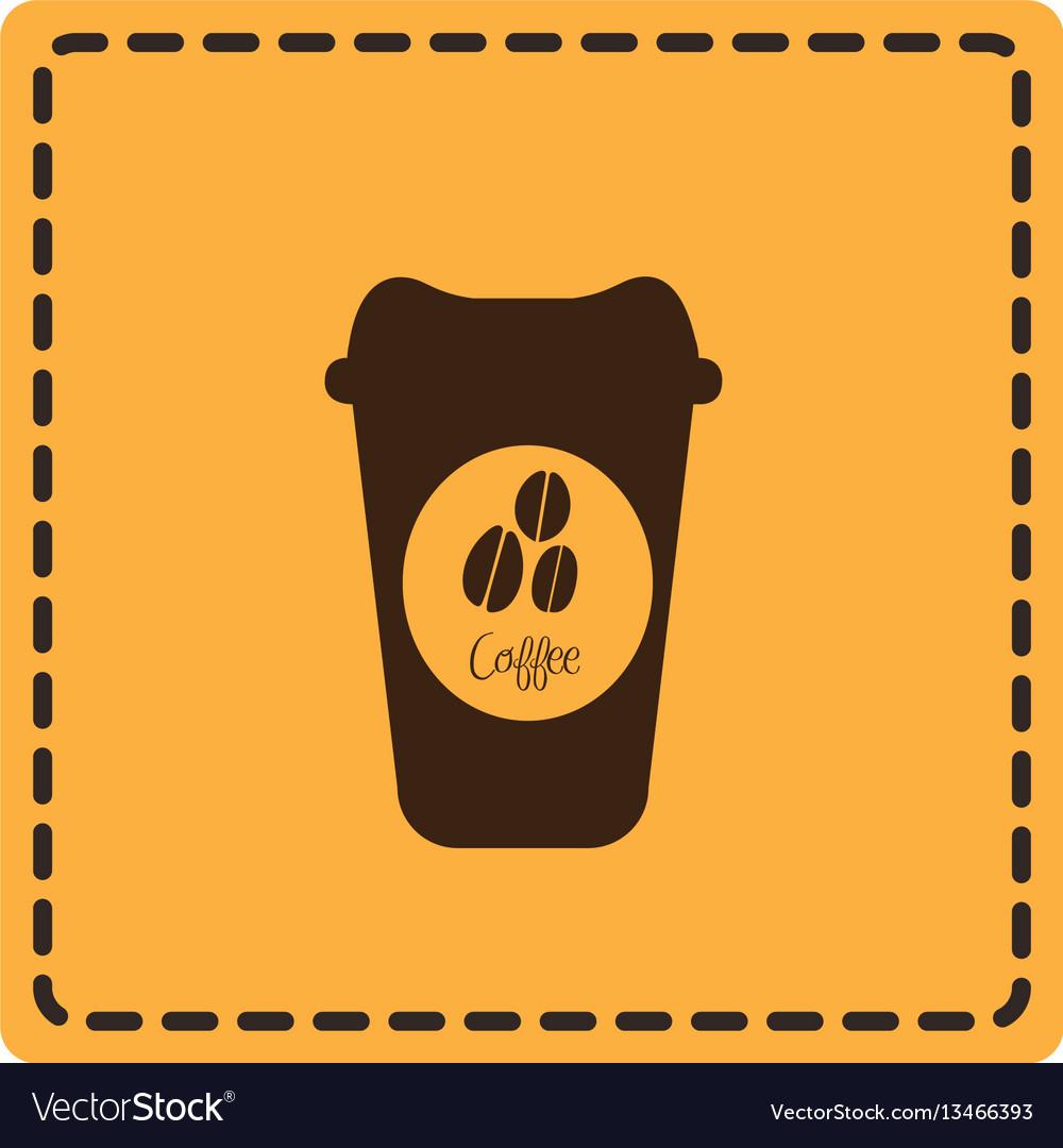 Yellow emblem coffee espresso icon vector image
