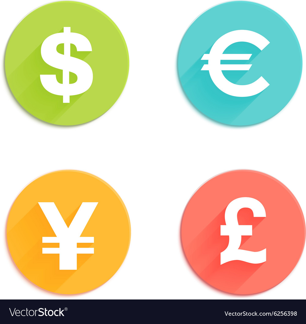 Currency flat icons vector image