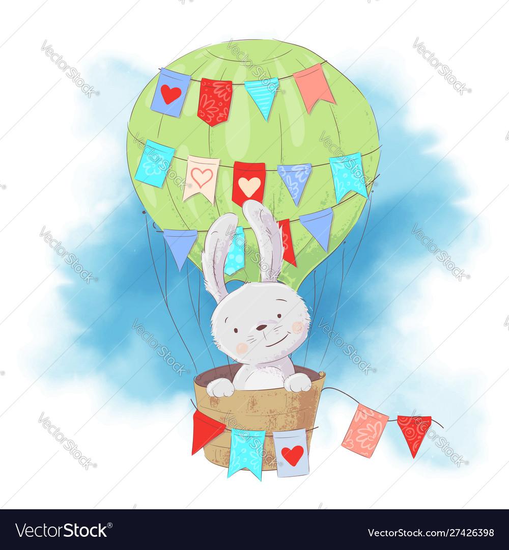 Cute cartoon rabbit in a balloon on a watercolor