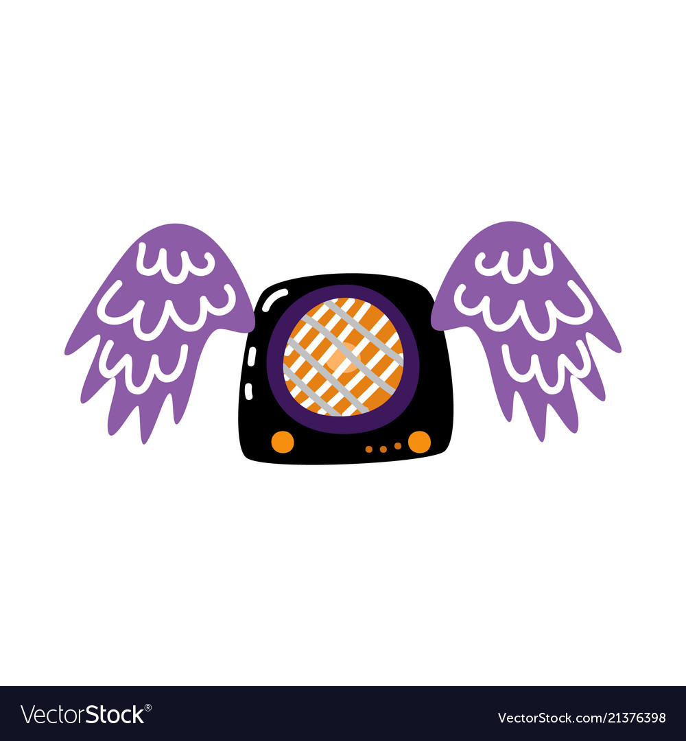 Flat guitar amplifier with wings icon