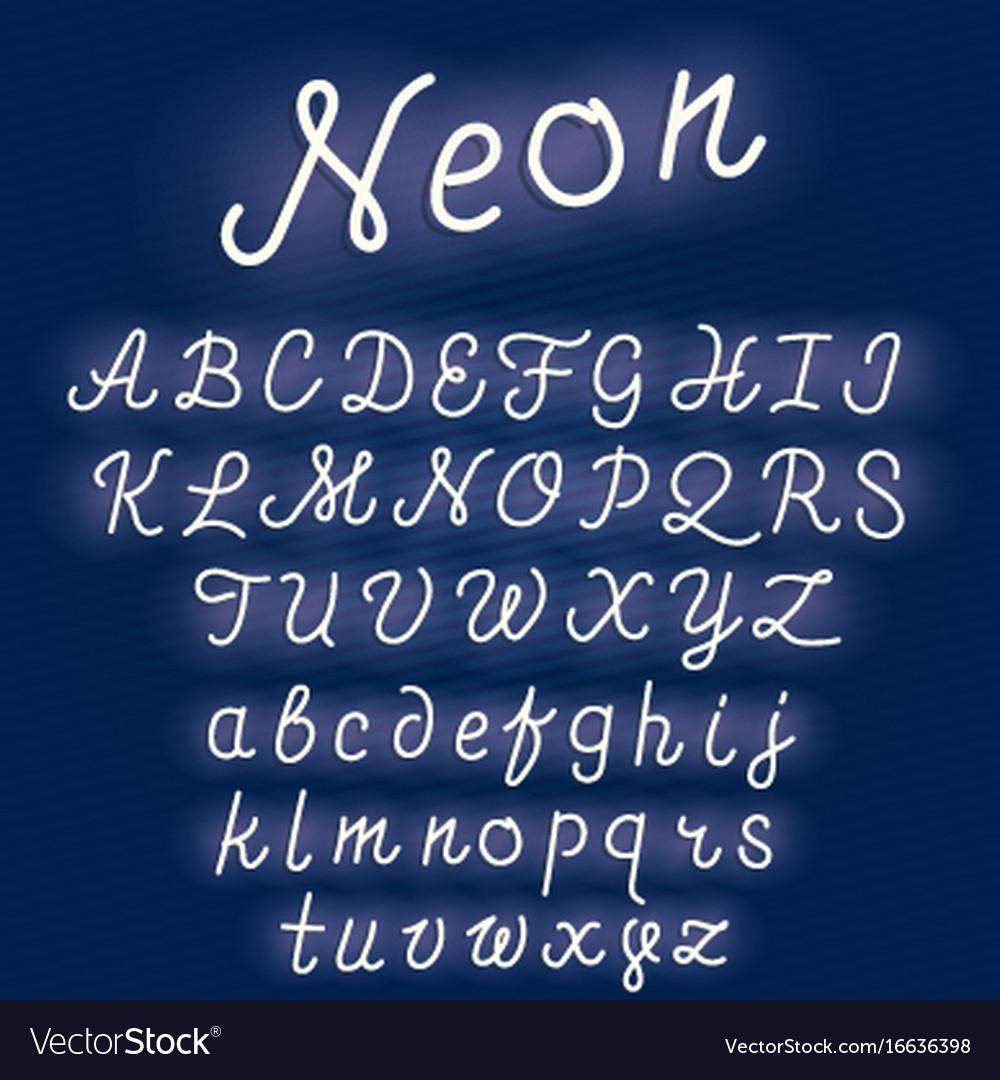 Neon alphabet script font glowing letters set