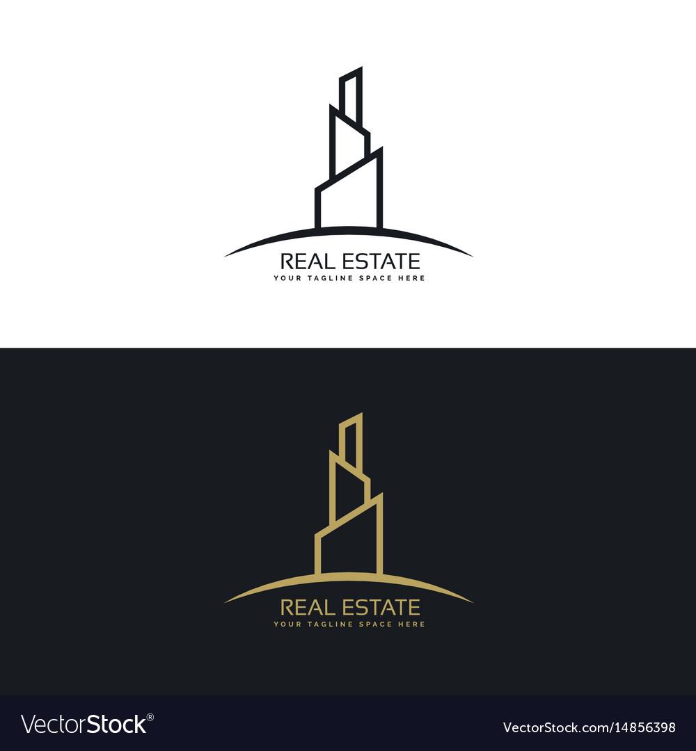 Real estate building business logo design concept vector image