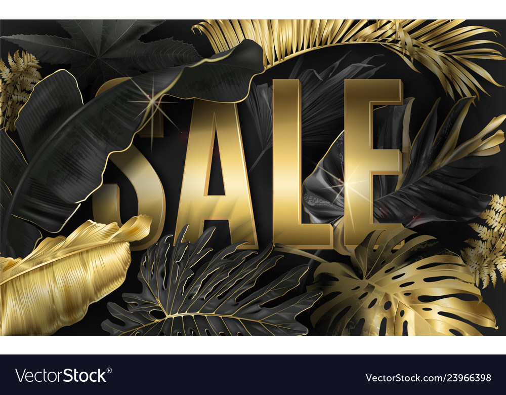 Sale Banner With Gold Tropical Leaves Royalty Free Vector