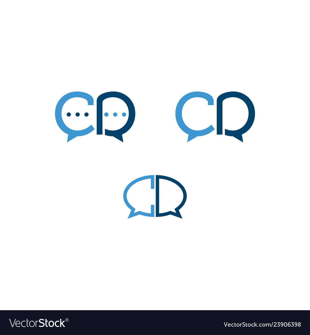 Set of initial letter c and d chat icon