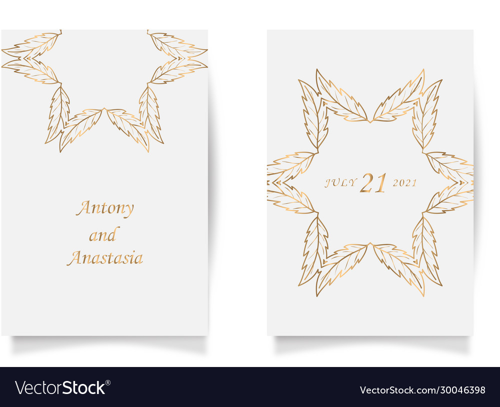Set wedding card flyer pages ornament concept