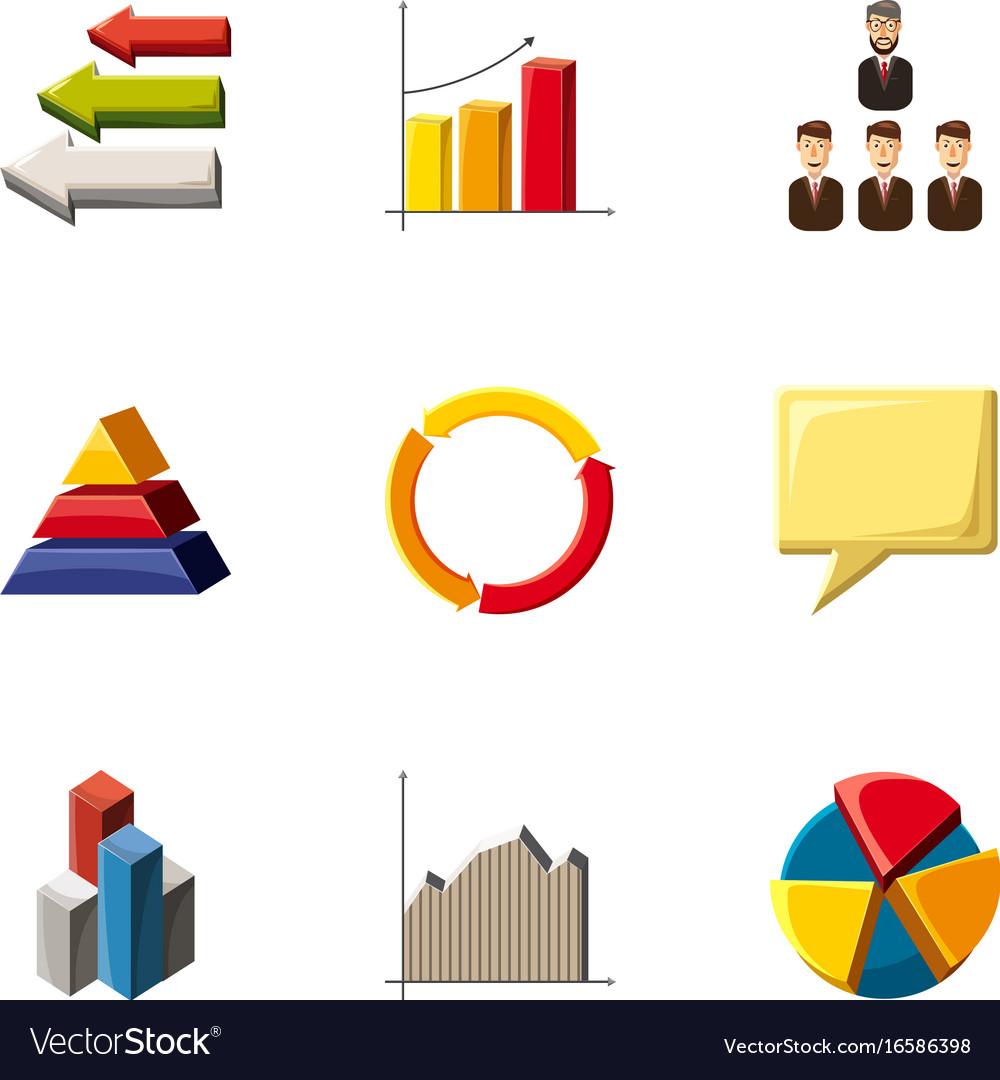 Trendy infographic icons set cartoon style