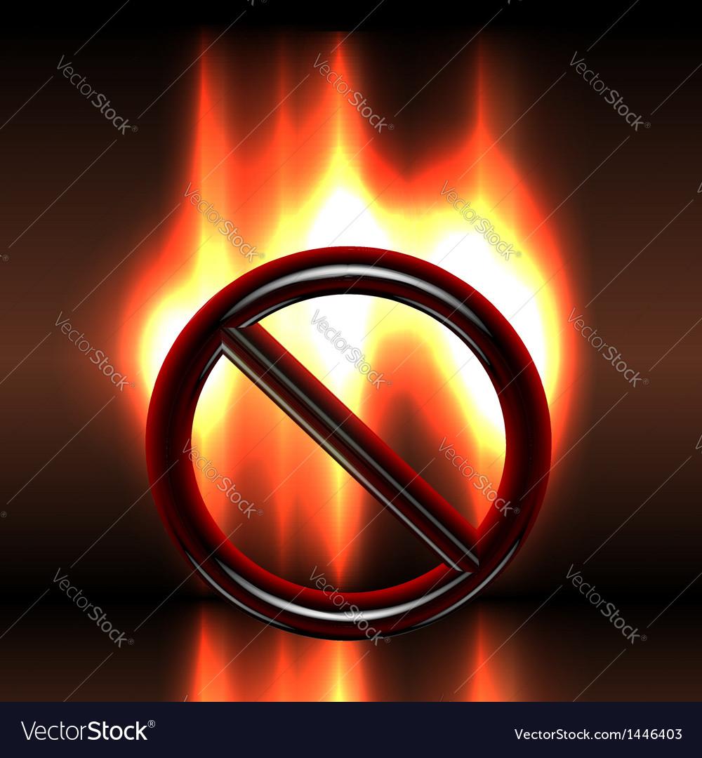 Burning warning prohibition sign vector image