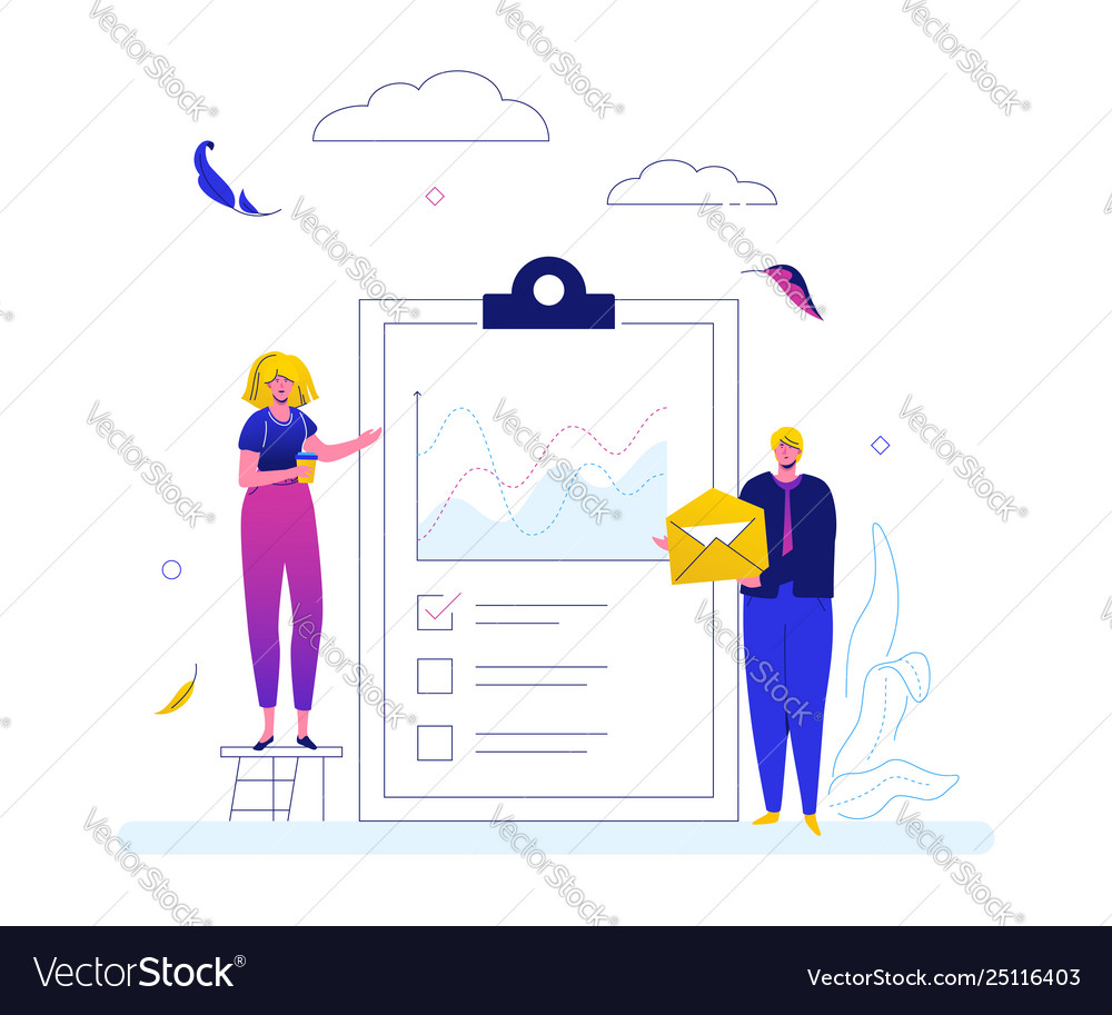 Business strategy - flat design style web banner