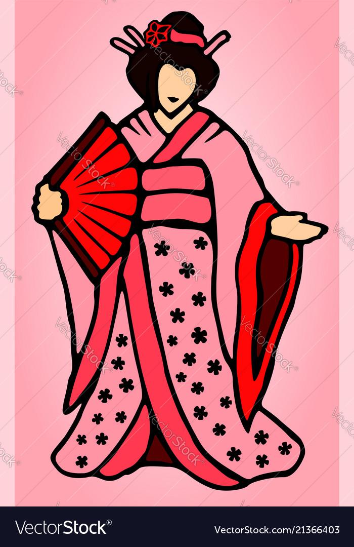 Cartoon japanese woman