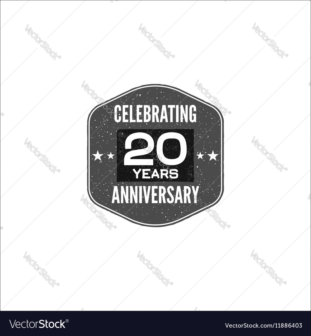 Celebrating 20 years anniversary badge sign and