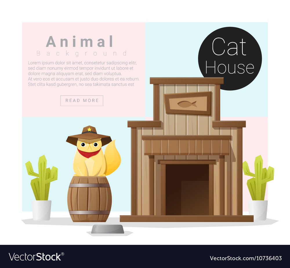 Cute animal collection Cat house 2 vector image