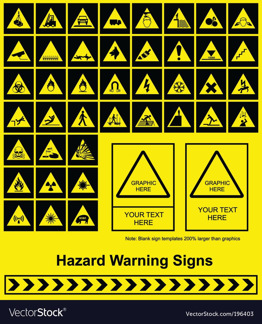 Hazard signs vector image