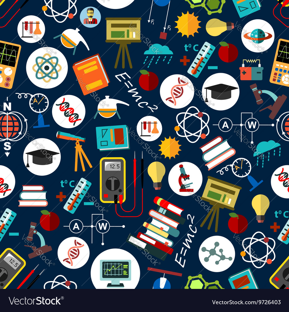 Seamless pattern of science education background